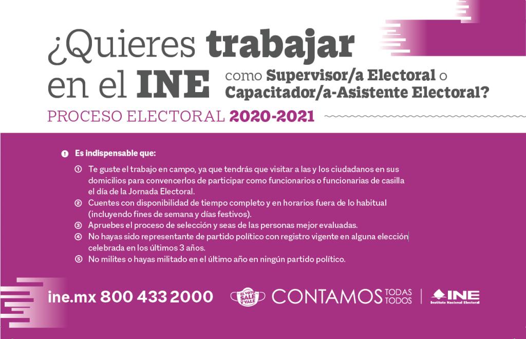 Convocatoria para Supervisores (as) Electorales y Capacitadores (as) Asistentes Electorales 2021