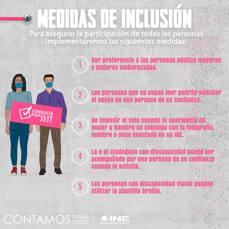 Medidas de inclusión en la Consulta Popular 2021